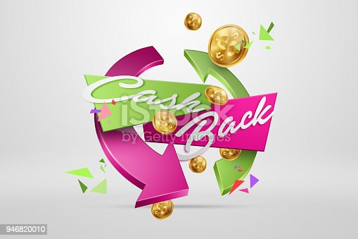 istock The inscription Cash Back, an image of the emblem and gold coins on a light background. Business concept, money back, finances, customer focus. White, pink, gold color. Illustration, 3d. 946820010