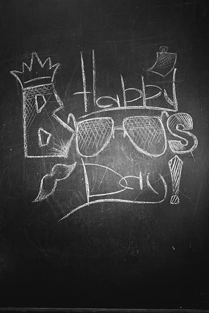 the inscription chalk on the blackboard - happy boss's - bosses day fotografías e imágenes de stock