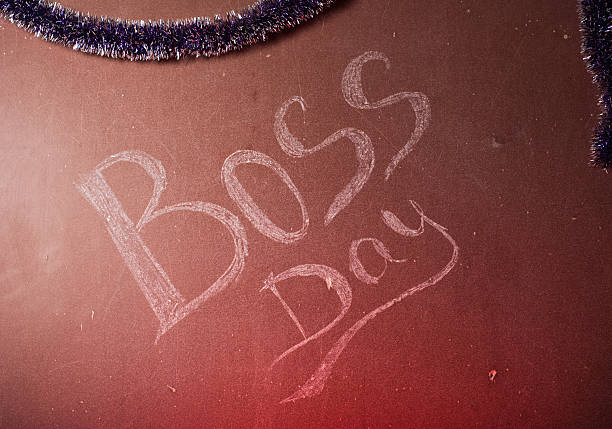 The inscription chalk on the Board, The inscription chalk on the Board, red lights, Boss's Day, boss's day stock pictures, royalty-free photos & images