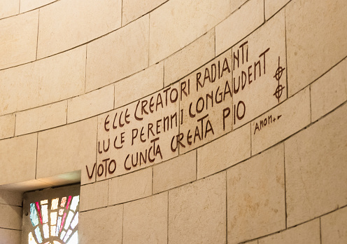 istock The inscription in Latin on the wall of the Basilica of the Annunciation in the old city of Nazareth in Israel 904486794