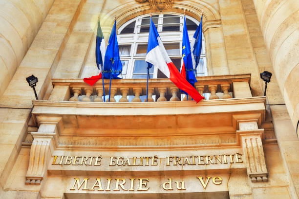 The Inscription, motto of the French Revolution and the national motto of France: Liberte, Fgalite, Fraternite. stock photo