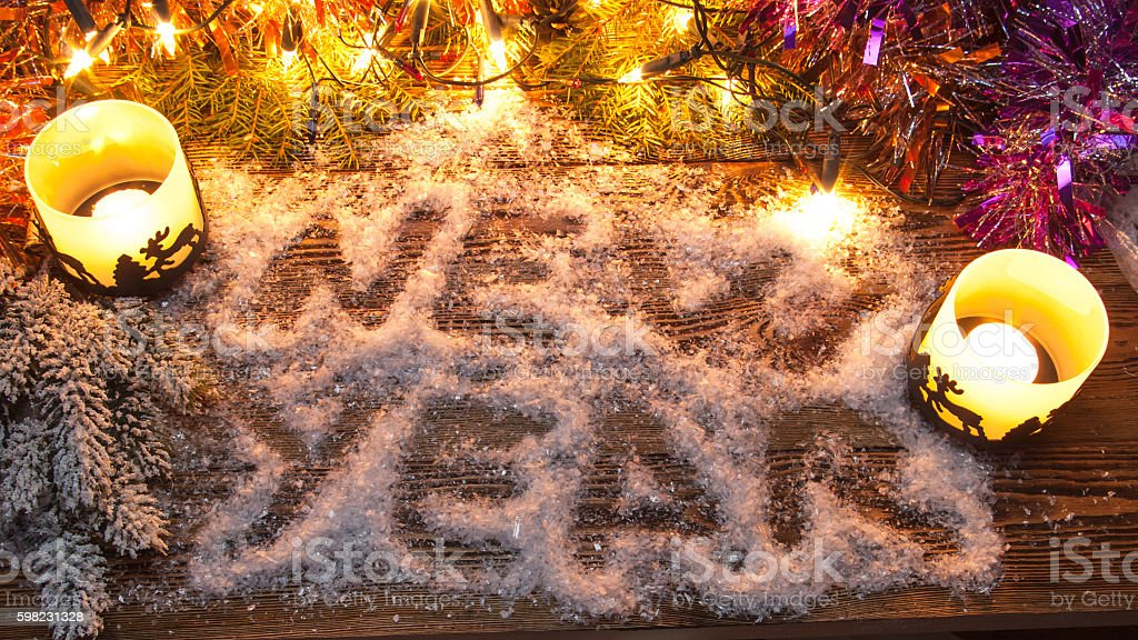 The inscription 'New Year' in the snow. foto royalty-free