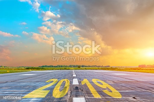 istock The inscription on the runway 2019. Concept of success in the future. 1072232640