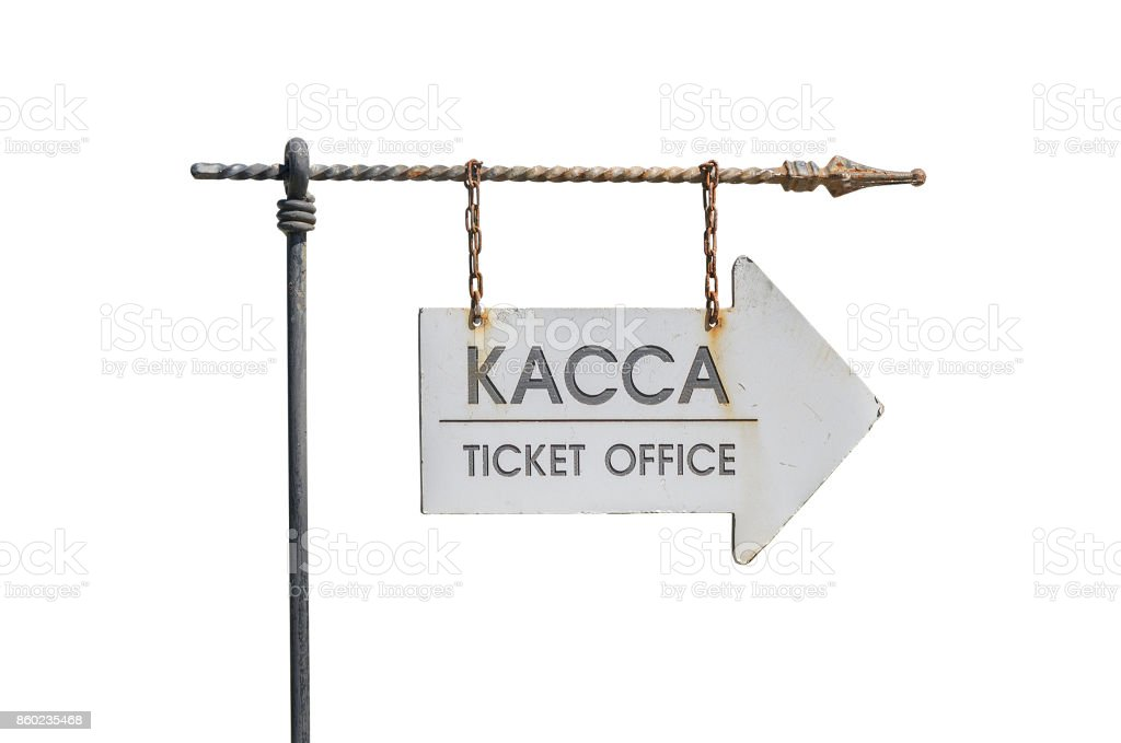 The inscription 'Ticket office' on the old pointer on a white background stock photo