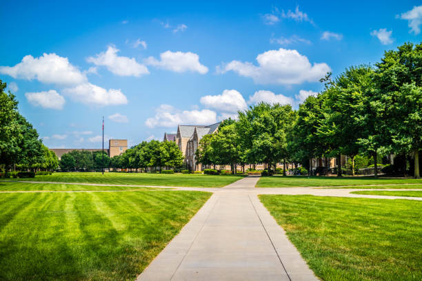 The inside grounds of the park and garden in Notre Dame, Illinois stock photo