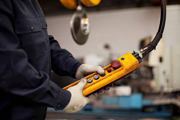Fabrik innen crane Haken- und Knopfverschluss – Foto