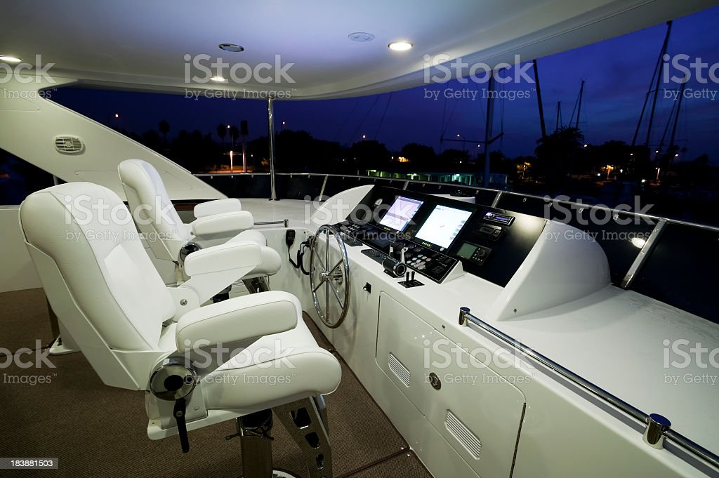 The inside of a flybridge motor yacht helm  stock photo