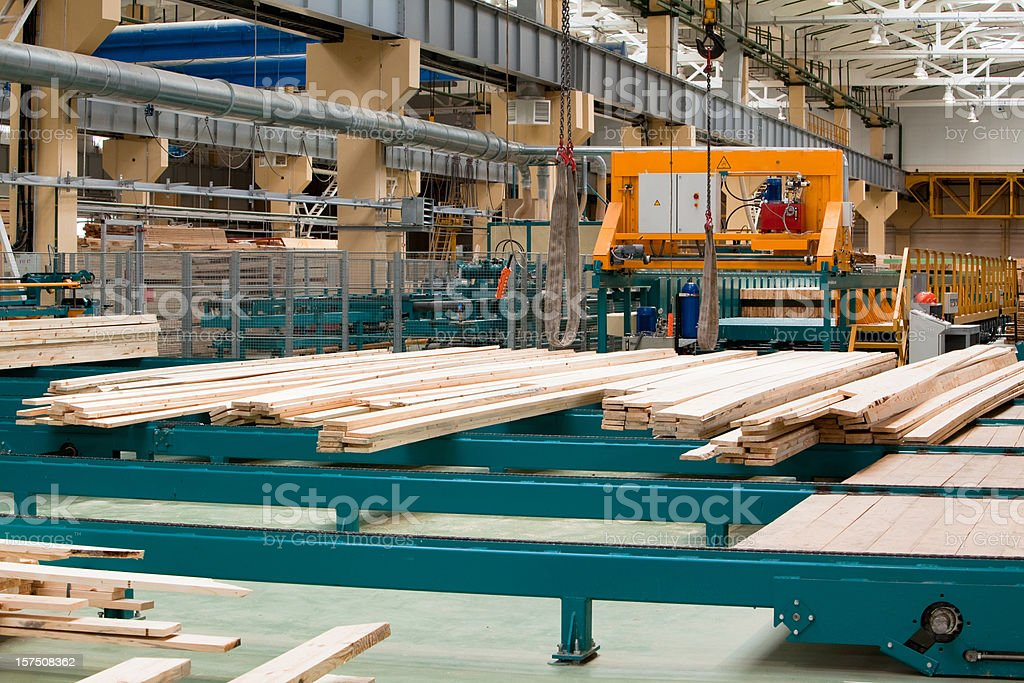 The inside of a lumber yard factory stock photo