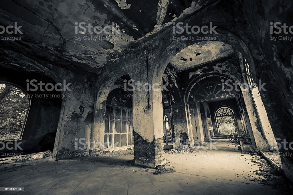The inside of a old haunted house stock photo