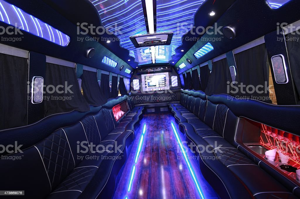 The Inside Of A Party Bus stock photo