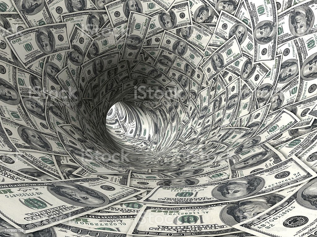 The inside of a tunnel made of money Dollars swirl 3d abstract illustration. American One Hundred Dollar Bill Stock Photo