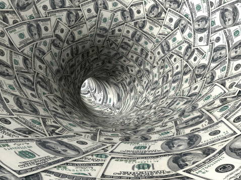The Inside Of A Tunnel Made Of Money Stock Photo - Download Image Now