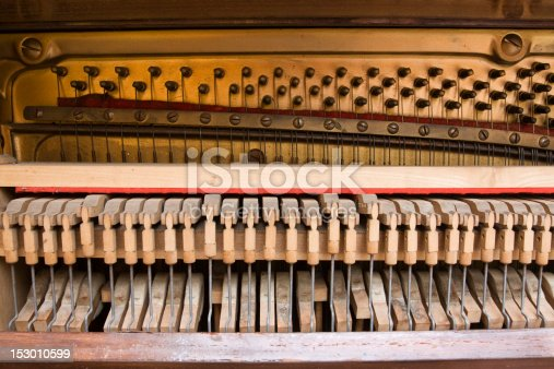 Photograph of the workings of an old upright piano