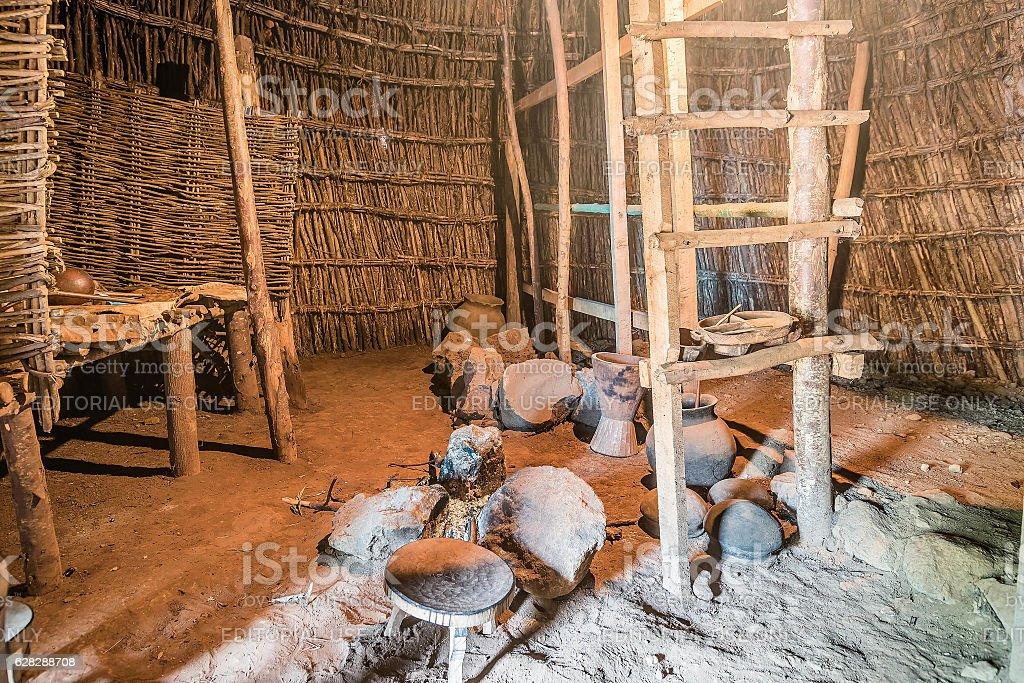 The inside of Chagga-Masai tribe Huts in Marangu Village,  Tanza stock photo