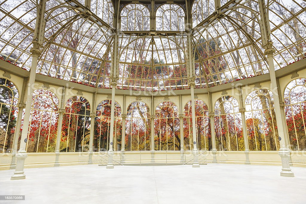 The inside of Palacio de Cristal, located in Madrid, Spain stock photo