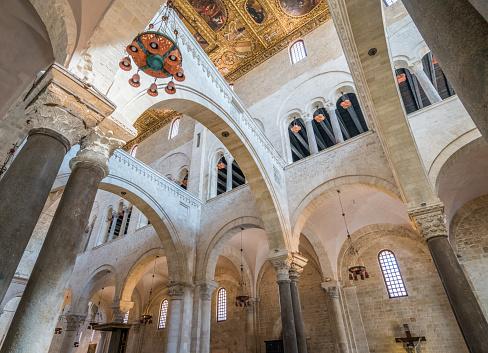 The inside of Saint Nicola Basilica in Bari, Apulia, southern Italy.