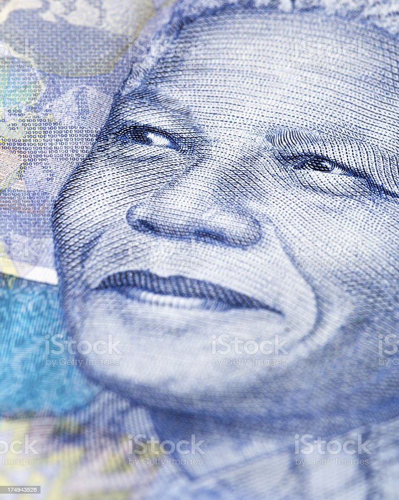 The instantly recognizable face of Nelson Mandela on new banknote stock photo