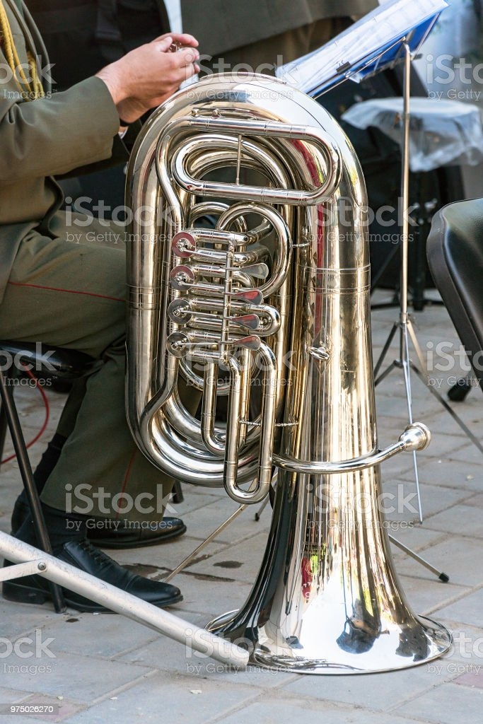 The instrument of the brass band tuba stock photo