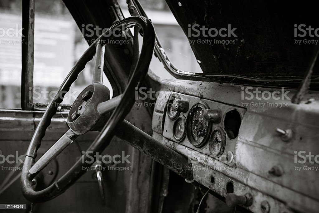 The instrument panel of an old machine stock photo