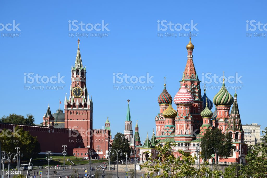 The Intercession Cathedral and the Kremlin stock photo