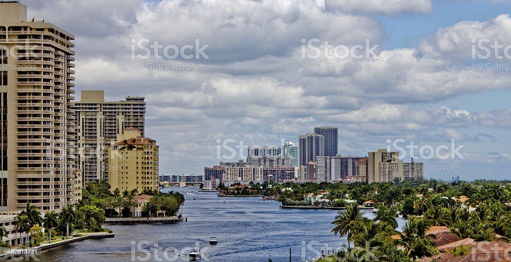 The Intercoastal waterway in Miami, Florida. stock photo