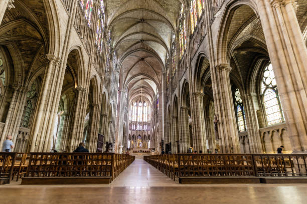 The interior and nave of Basilica Cathedral of Saint-Denis, Paris stock photo