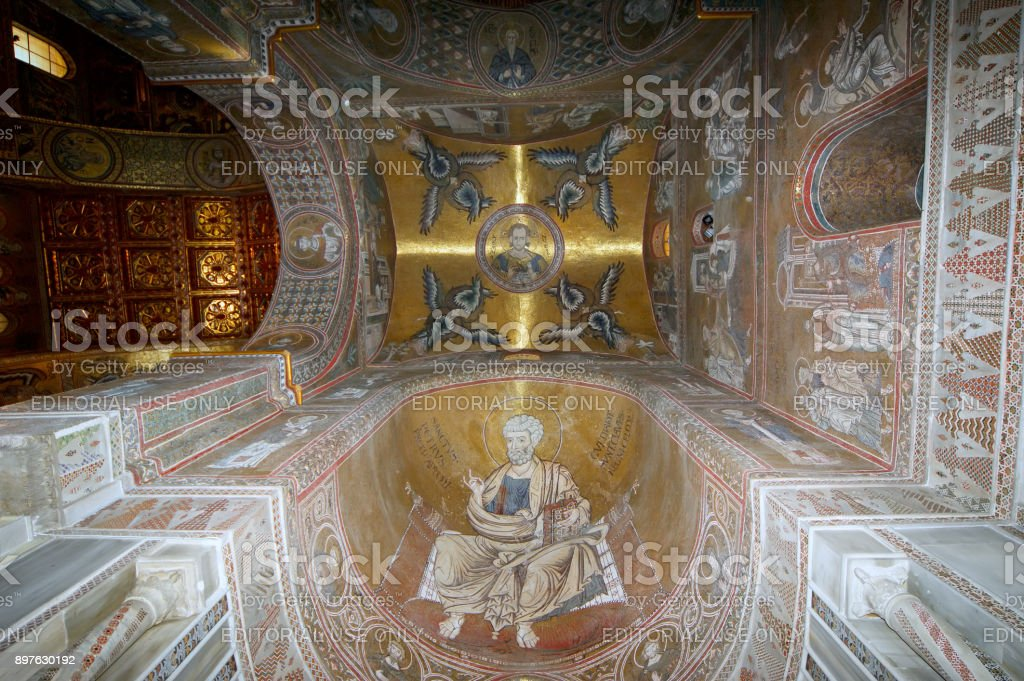 The interior Cathedral-Basilica of Monreale, is a Roman Catholic church in Monreale, Sicily, southern Italy. stock photo
