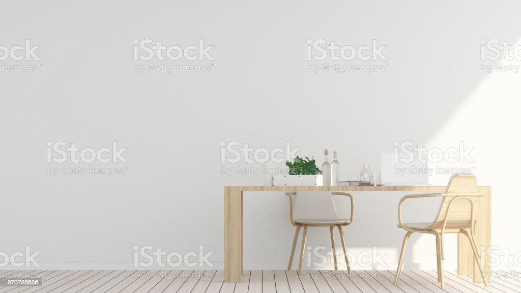 El Interior De La Cafetería O Sala De Estar Y Pared Decorar Render ...