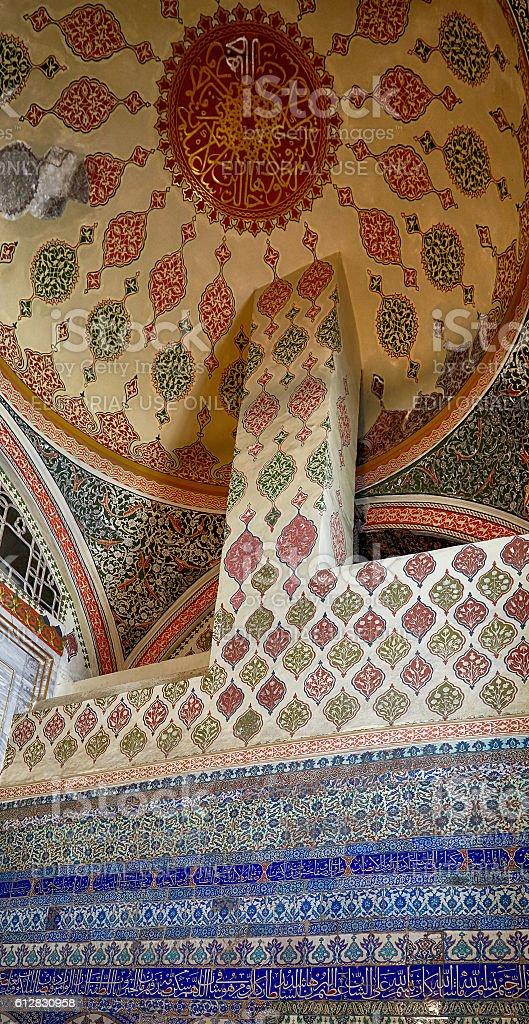 The interior decoration in Topkapi Palace, Istanbul, Turkey stock photo