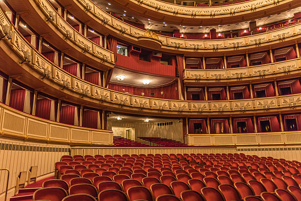 the interior design of the vienna state opera - opera stock photos and pictures