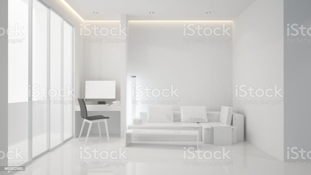 Der Leere Innenraum Entspannen Raum Möbel Und Minimal   3d Rendering Im  Hintergrund Dekoration Lizenzfreies Stock
