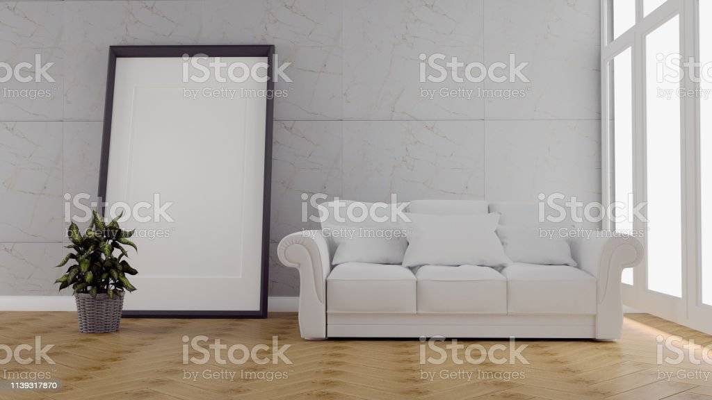 The interior has a sofa and lamp on empty white wall background,3D...