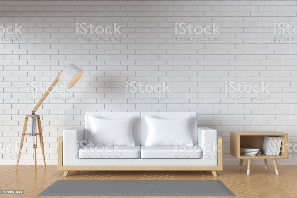 The interior has a White sofa and lamp on empty white wall...