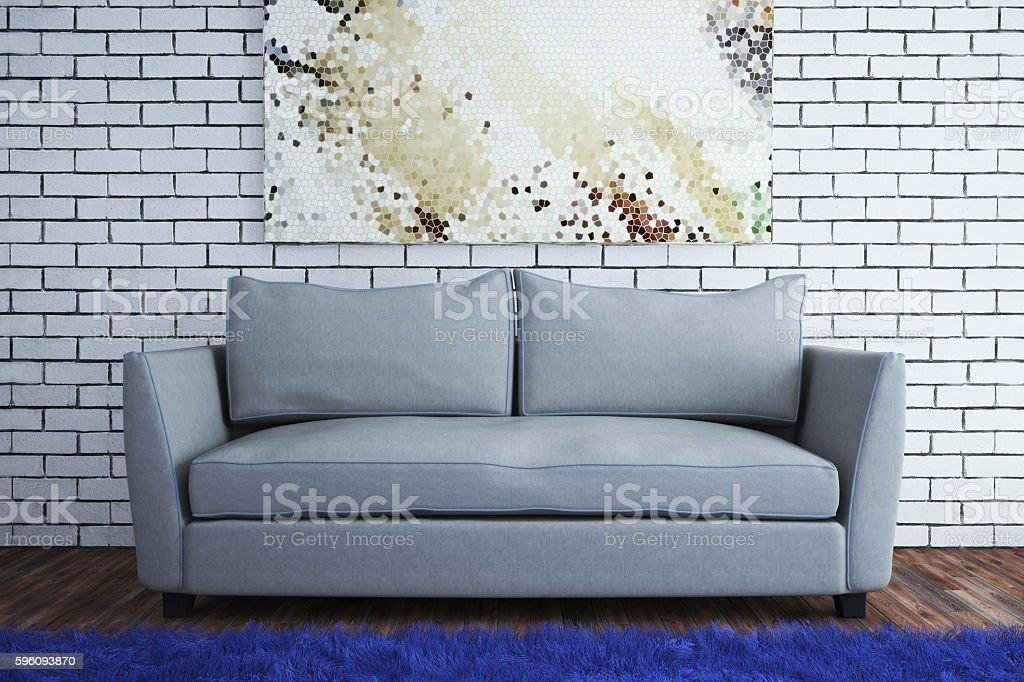 The interior in a modern style with a brick wall. Lizenzfreies stock-foto