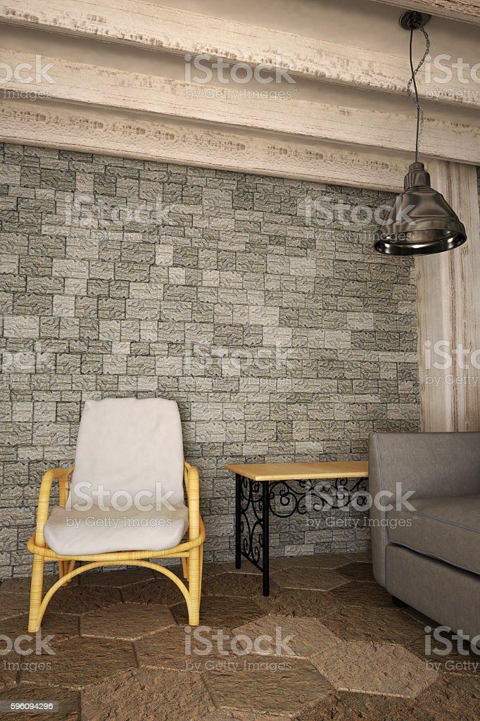 The interior in Mediterranean style. 3d illustration Lizenzfreies stock-foto