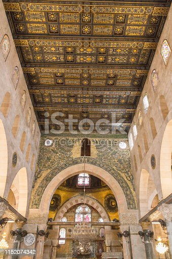 The interior inside of Al-Aqsa Mosque at Aqsa Complex in the Old City of Jerusalem.