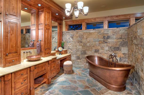 - badezimmer - badewanne holz stock-fotos und bilder