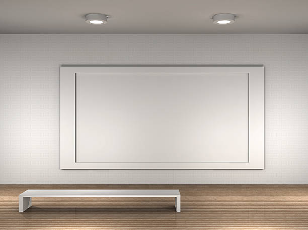 Royalty free blank picture frame with white wooden bench in empty the interior of a empty museum stock photo sciox Images