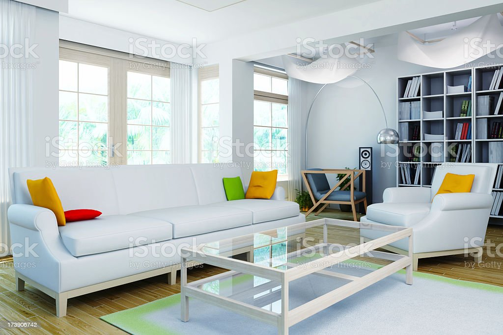 The interior of a modern home with white walls and decor royalty-free stock photo
