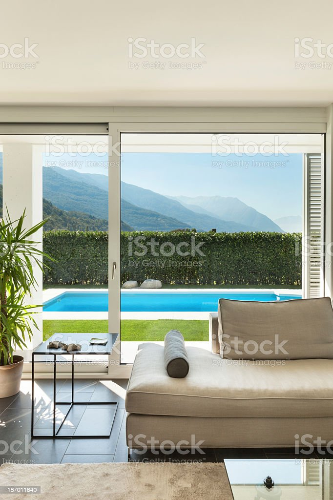 The Interior Of A Modern Villa With A Mountain View Stock Photo
