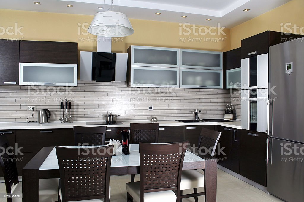 The interior of a sleek, modern kitchen royalty-free stock photo