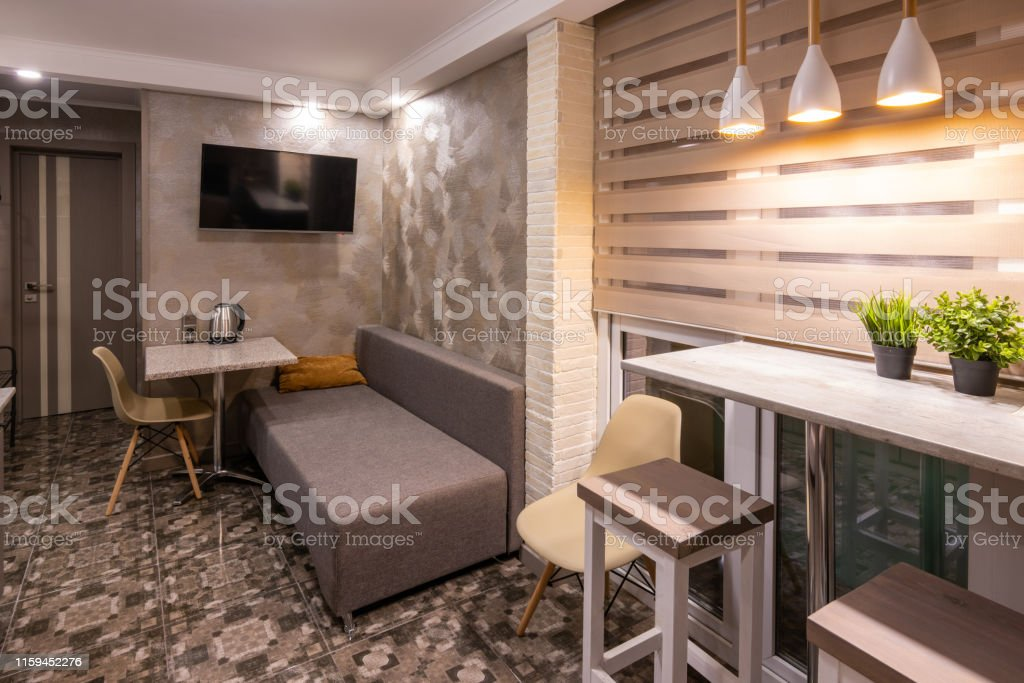The Interior Of A Small Living Room In Hotel Combined With Kitchen Stock Photo Download Image Now Istock