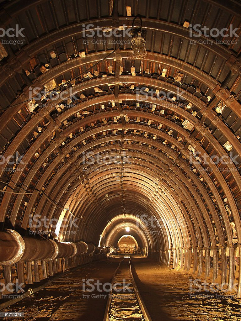 The interior of a tunnel being constructed stock photo