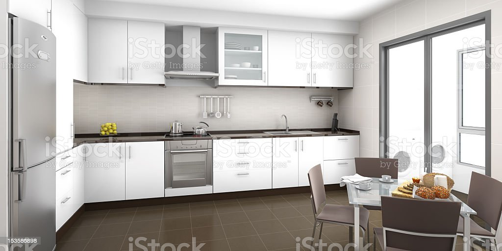 The interior of a white, modern kitchen royalty-free stock photo