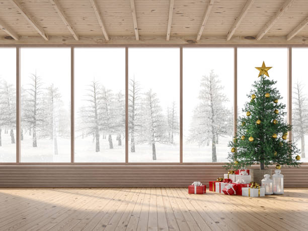 The interior of a wooden house with Christmas trees 3d render stock photo