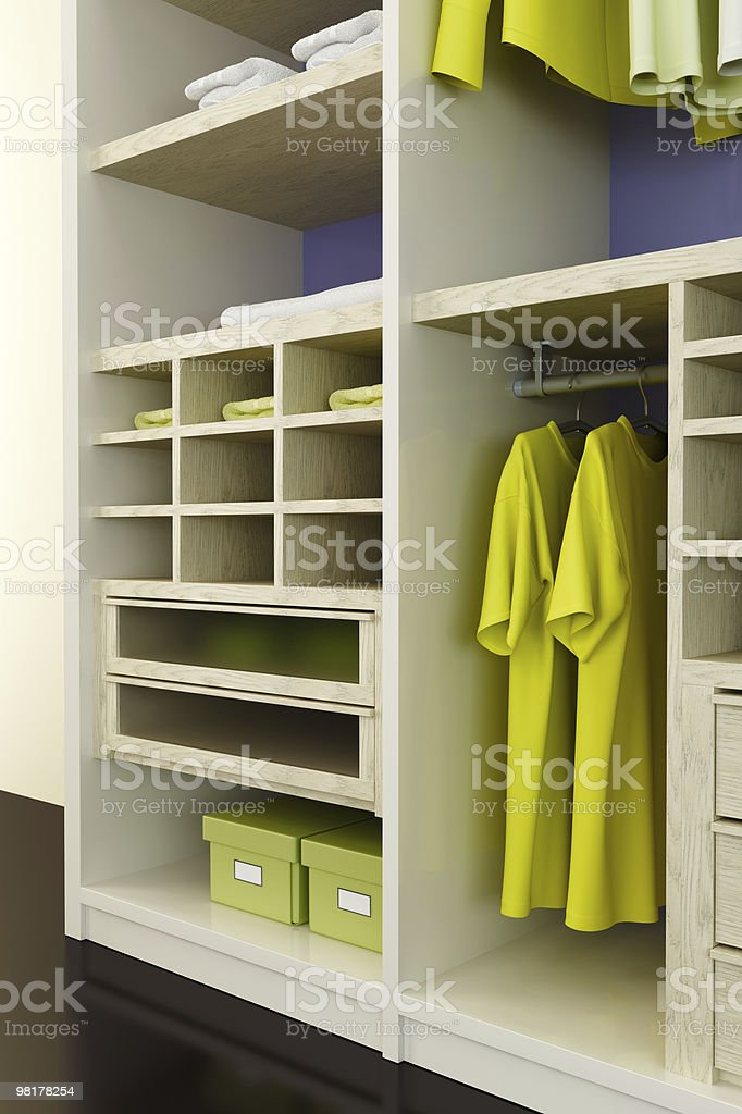 The interior of an organized closet space royalty-free stock photo