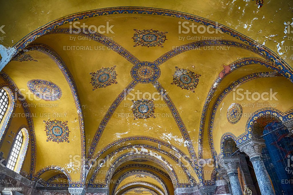 The interior of Hagia Sophia, Istanbul stock photo