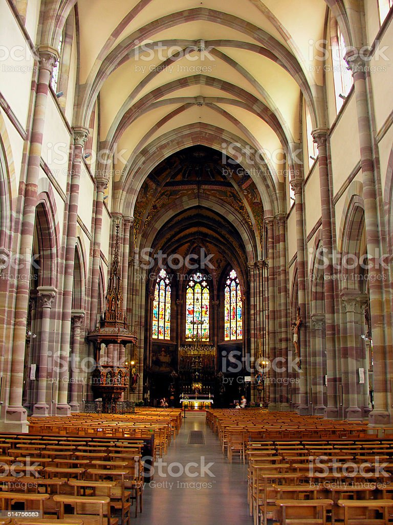 The interior of Obernai's cathedral, in France stock photo