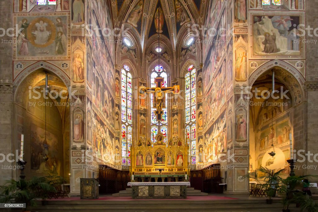 The interior of the Basilica of Santa Croce stock photo