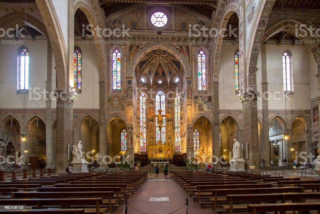 The interior of the Basilica of Santa Croce stock photo